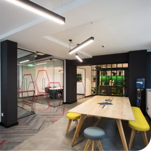 painters and decorators painting London office in Black & White paint.