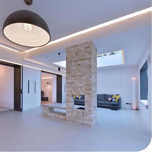 residential painting and decorating of house in London in white paint.