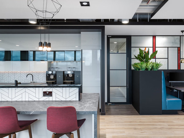 painted kitchen space in Boult Wade office
