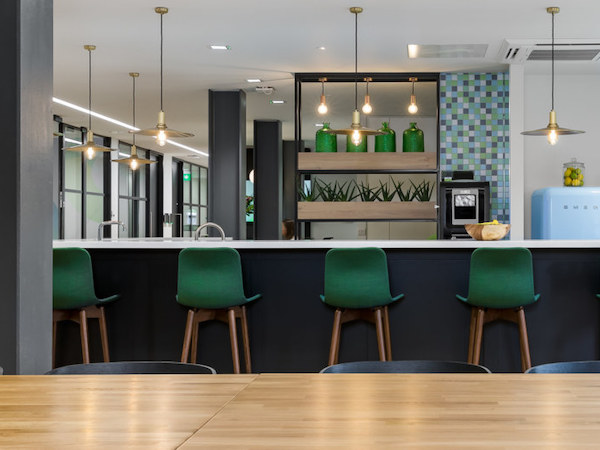painted bar area in Halma office