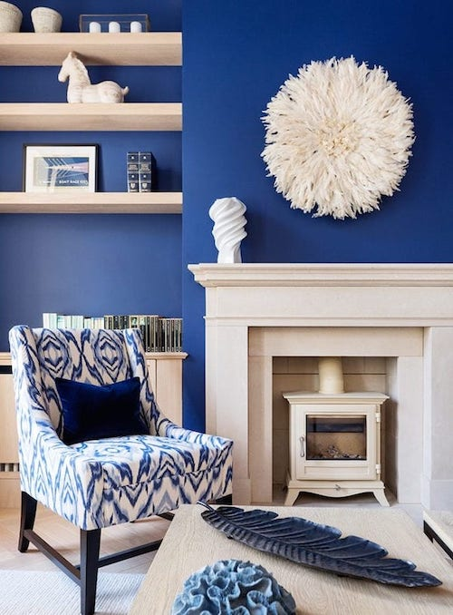 Astell Street house living room painted in bold blue paint