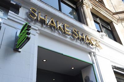 Shake Shack entrance painted in white masonry paint