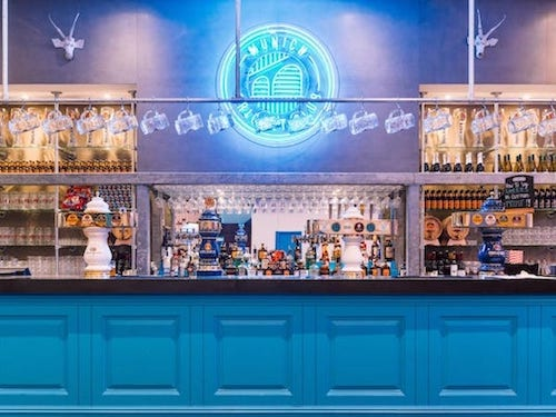 blue painted bar in Munich Cricket Club in London