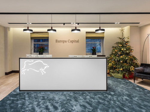 cream painted reception in Europa Capital office in London