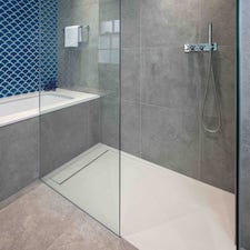 dark square bathroom tiles