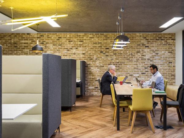 exposed brick in office meeting room