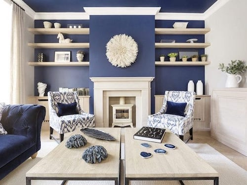 living room painted in bold blue paint