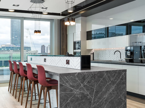 marble worktop in office kitchen