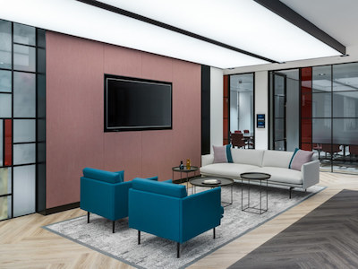 office lounge decorated with coloured vinyl wallpaper and white painted walls and ceilings