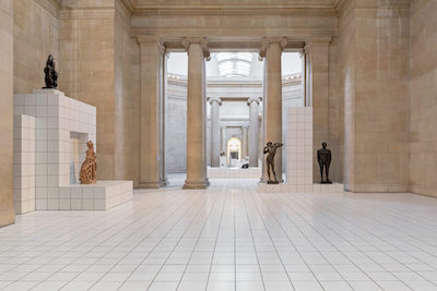 white ceramic floor tiles laid in the Duveen galleries in Tate Britain for 'The Squash' exhibition