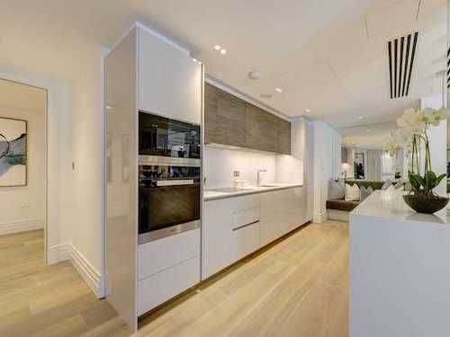 white painted kitchen in London flat