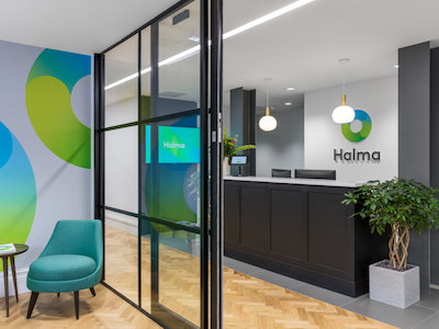 white painted reception in Halma office