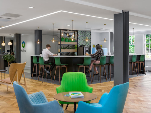 white painted walls and ceilings in office bar