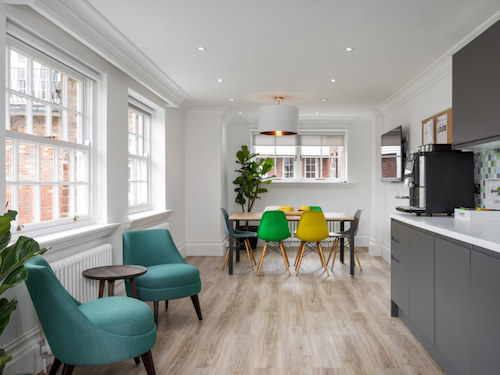 white painted walls and ceilings in office kitchen