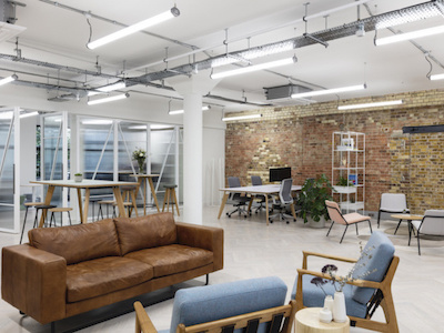 white painted walls and ceilings in open-plan office meeting room