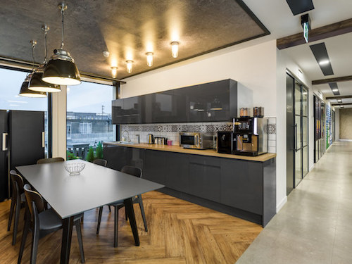 white painted walls and ceilings in teapoint of Williams Lea Tag office in London