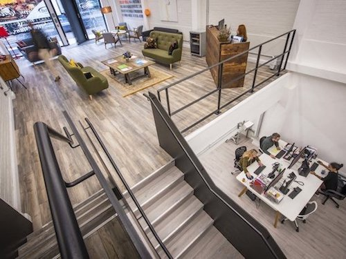 white painted walls and ceilings inside the Rainmaker office in London