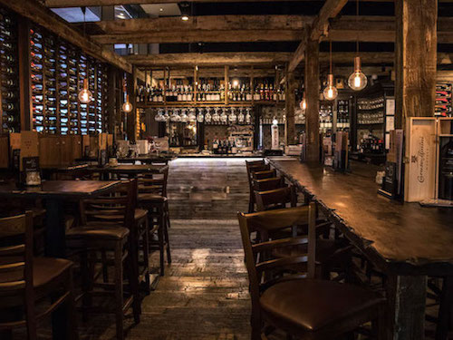 wooden interior design in Veeno's wine bar in London